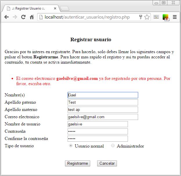 Error de validación de datos al registrar usuario