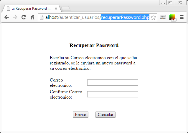 Pantalla de recuperacion de password