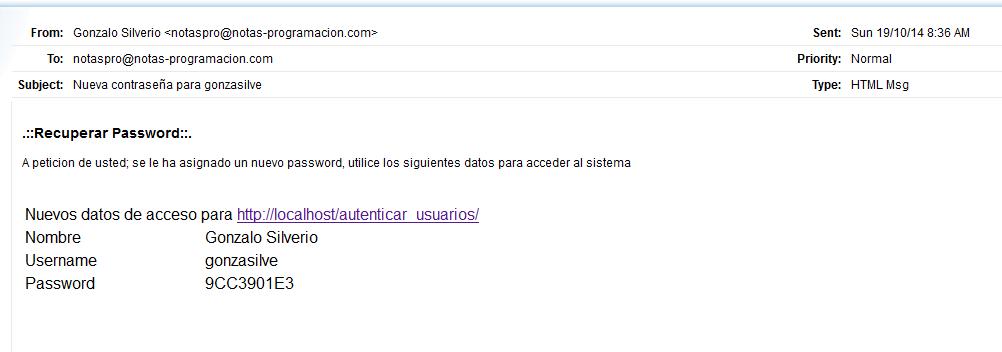 Email con el nuevo password del usuario
